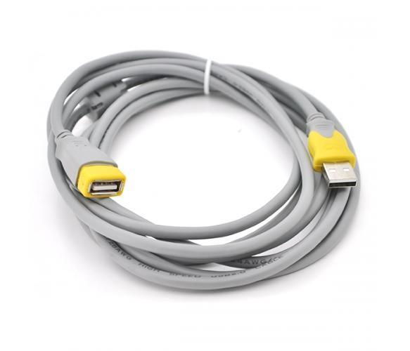 Удлинитель USB 2.0 V-Link AM/AF, 3.0m, 1 феррит, Grey/Yellow